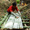 Father Gun creating bamboo furniture on the spot
