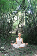 Meditation in bamboo forest